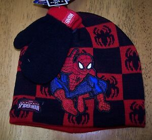 696815b5191623 NWT MARVEL SPIDERMAN 3 PC BLACK & RED HAT MITTENS SET Infant ...