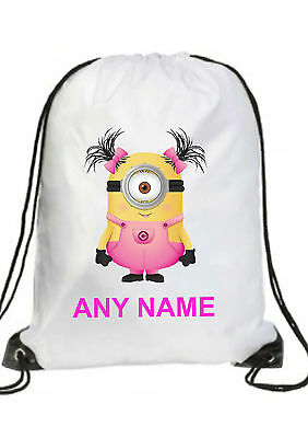 PINK GIRL  Personalised DESPICABLE ME MINION Gym BAG Swimming PE Dance School