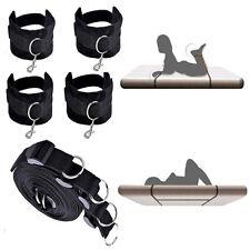 Under Bed Restraint System Cuffs Strap Set Black Nylon