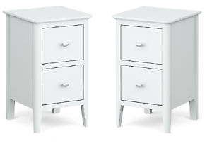 Pair White Bedside Cabinets Scandi