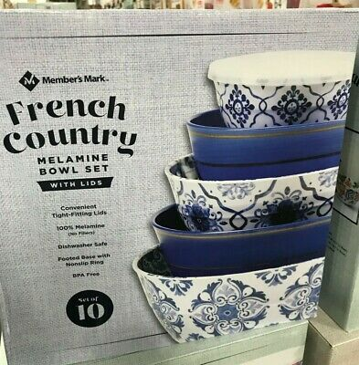 Member/'s Mark Melamine 10-Piece Mixing Bowl Set French Country Blue and White