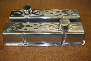 Details about Chevy Skull Flames Small Block Tall Breathers PCV Valve  Covers Clerars Rollers