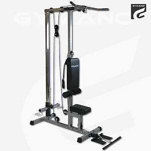 gymano ultimate lat pull down machine seated row arm curl