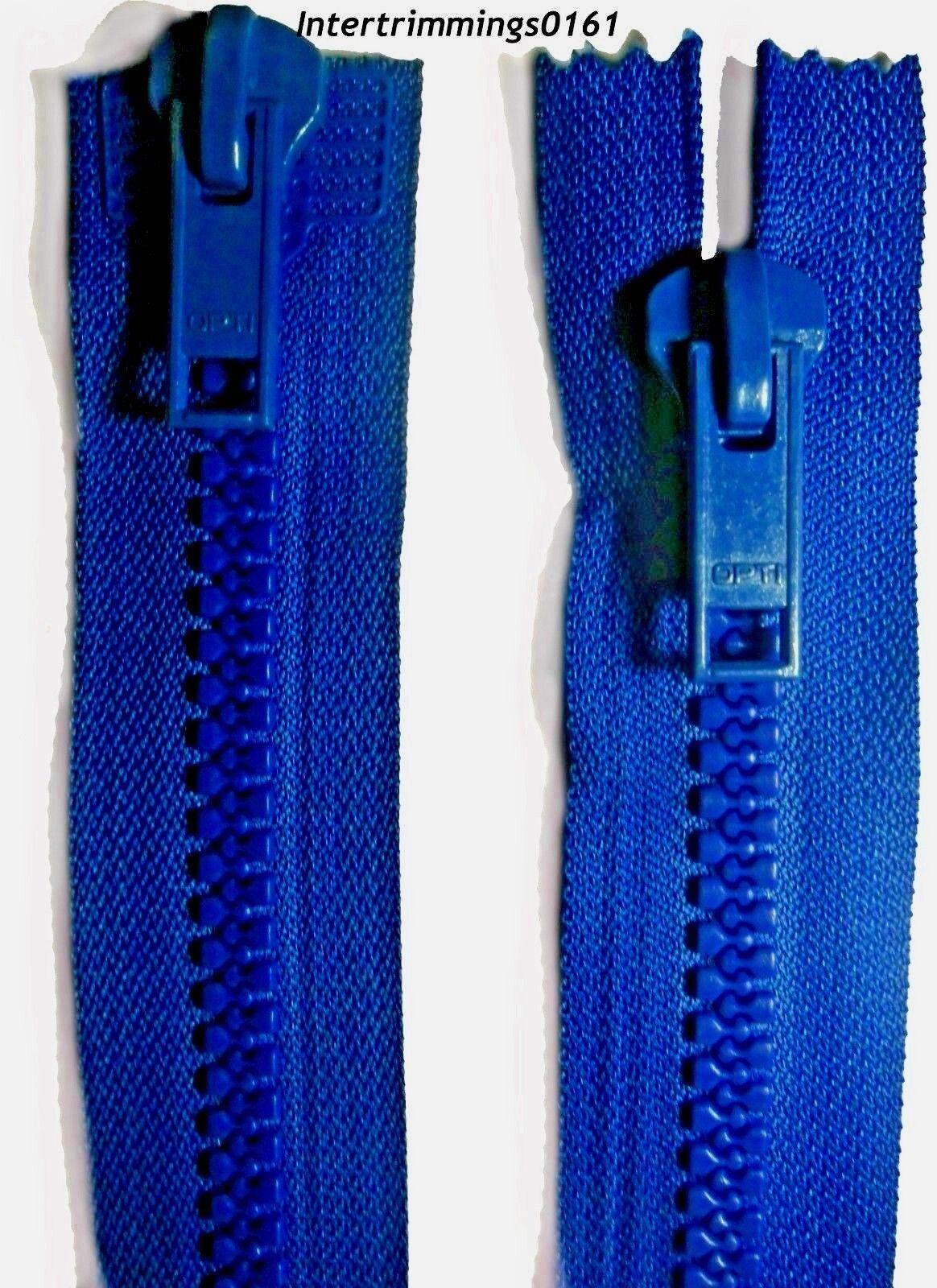 "OPTI ZIP ROYAL BLUE TWO WAY OPEN END NO 10 23.5/""//60CM CHUNKY PLASTIC TEETH"