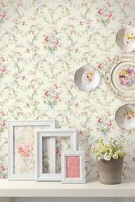 Vintage Victorian French Cottage Floral Blue Pink Green Purple Wallpaper Diy