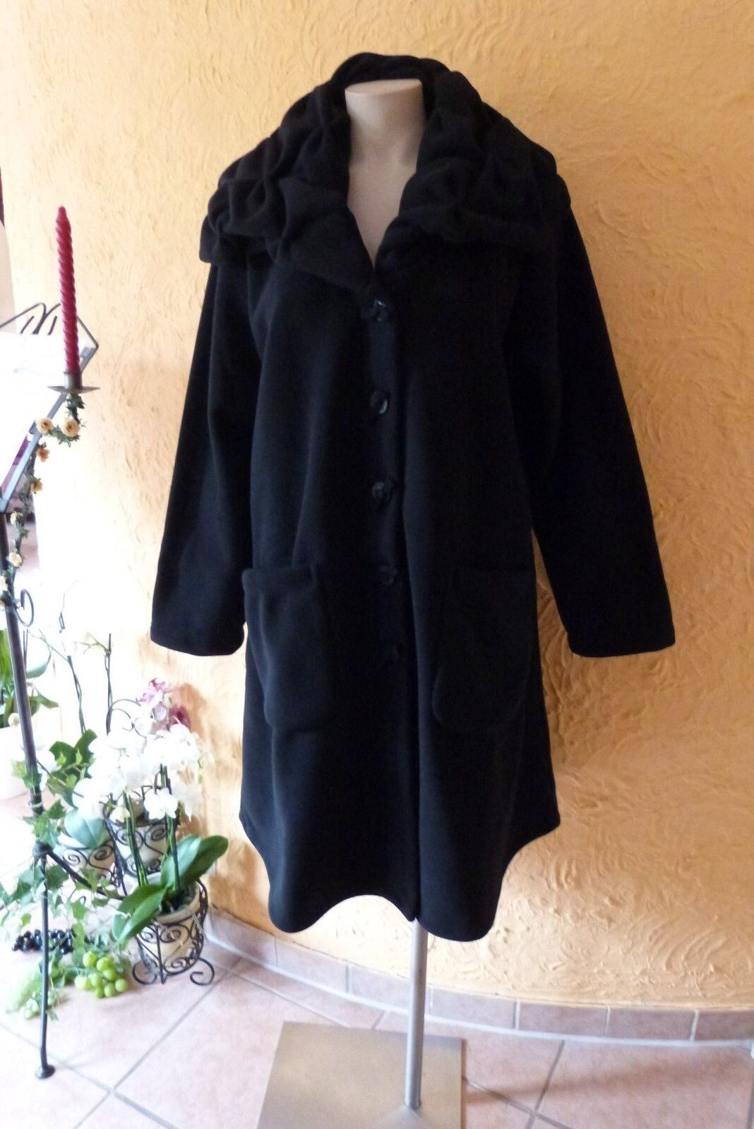 BORIS INDUSTRIES Fleece Mantel EDEL Smok-Kragen 48 50 EG NEU  black LAGENLOOK