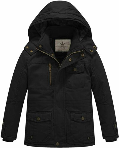 Details about  /WenVen Boy/'s /& Girl/'s Cotton Thick Sherpa Lined Jacket with Removable Hood