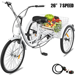 "Adult Tricycle 26"" Wheel 7 Speed 3 Wheels White Bicycle Trike Cruiser w/ Basket"