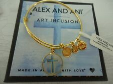 Alex and Ani Art Infusion Cross Expandable Rafaelian Gold-tone Bangle Bracelet