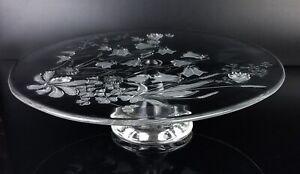 Walther-Glas-Kristallglas-Tortenplatte-Kuchenplatte-mit-Fuss-Gebaeckteller-Rosen