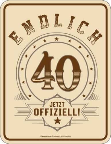 40 ans-enfin officiellement-Tôle Bouclier Bouclier Sort 17x22 cm