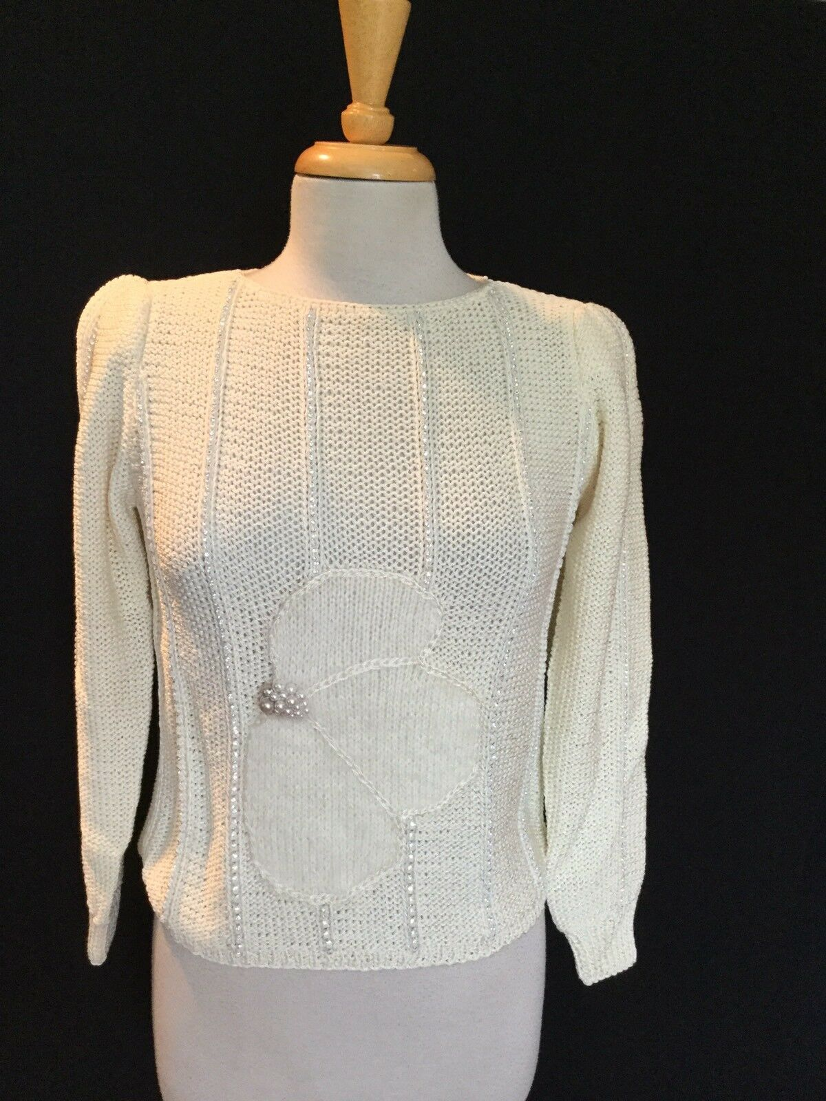 Women's Nanell Ivory Boutique Sweater W  Rhinestones & & & Pearls  Size Small  Nice 86a794