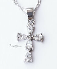 925 Silver cross with crystal Rhinestone pendant necklace - SC5