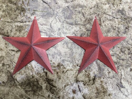 "Set of 2 BURGUNDY BLACK BARN STARS 8/"" PRIMITIVE COUNTRY DECOR  FREE SHIPPING!"