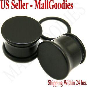 "0937 Black Acrylic Single Flare Ear Plugs 1/2"" Inch 12.7mm MallGoodies One Pair"