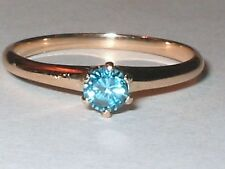 14K Rose .25Ct BLUE DIAMOND SIMULANT SOLITAIRE ENGAGEMENT PROMISE RING S7.75