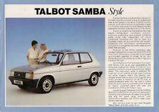 Talbot Samba Style Limited Edition 1985 UK Market Leaflet Sales Brochure