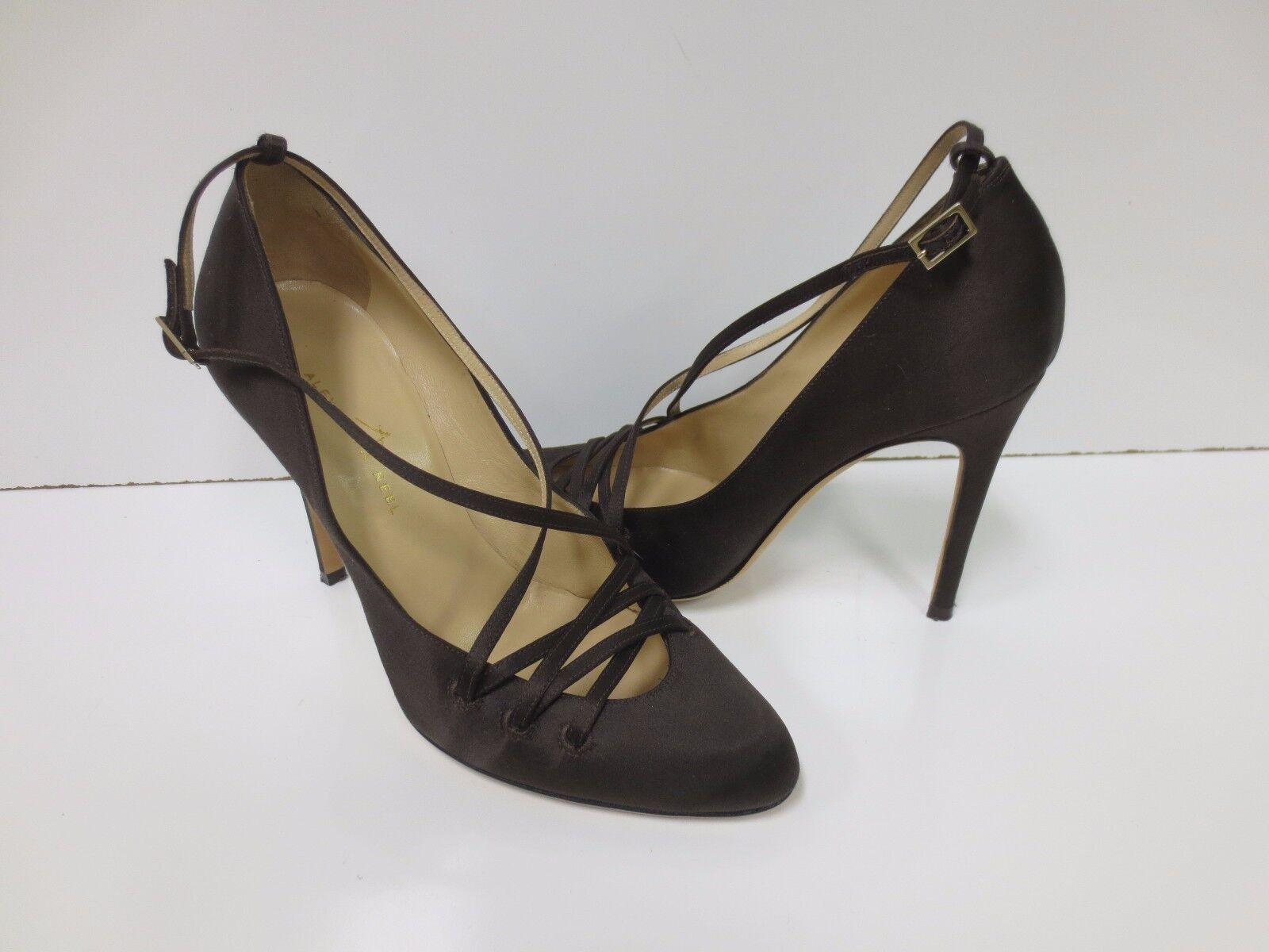 rivenditore di fitness ALEXANDRA NEEL Marrone Satin Lace Lace Lace Up Pumps Heels scarpe 36.5 EUC  moda classica