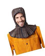 Flame Retardant Cowhide Split Leather Welding Hood With 15cm Neck Shoulder Dr