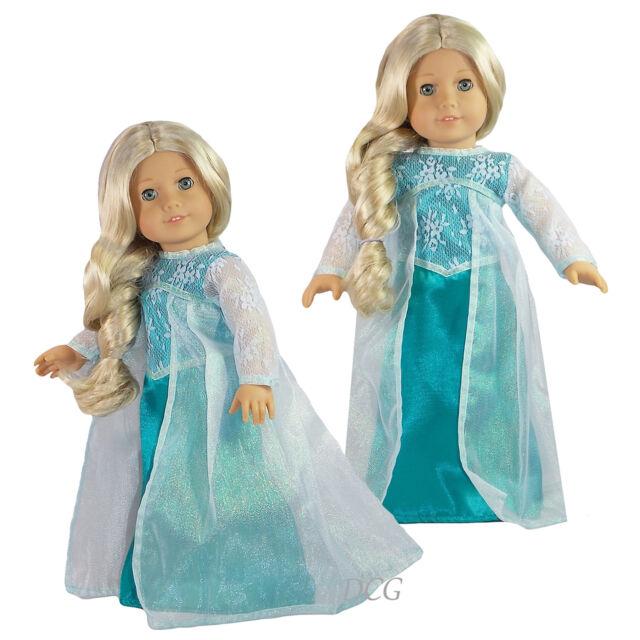 AFW FROZEN INSPIRED ELSA DRESS #265 TEAL SNOWFLAKE W/ ORGANZA CAPE Clothes NEW