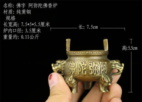 Chinese old antique brass statue MING XuanDe hand made Amitabha Incense Burners