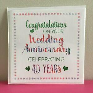 Biglietti Anniversario Matrimonio 40 Anni.Carta Anniversario Di Matrimonio 40 Anni Biglietto D Auguri
