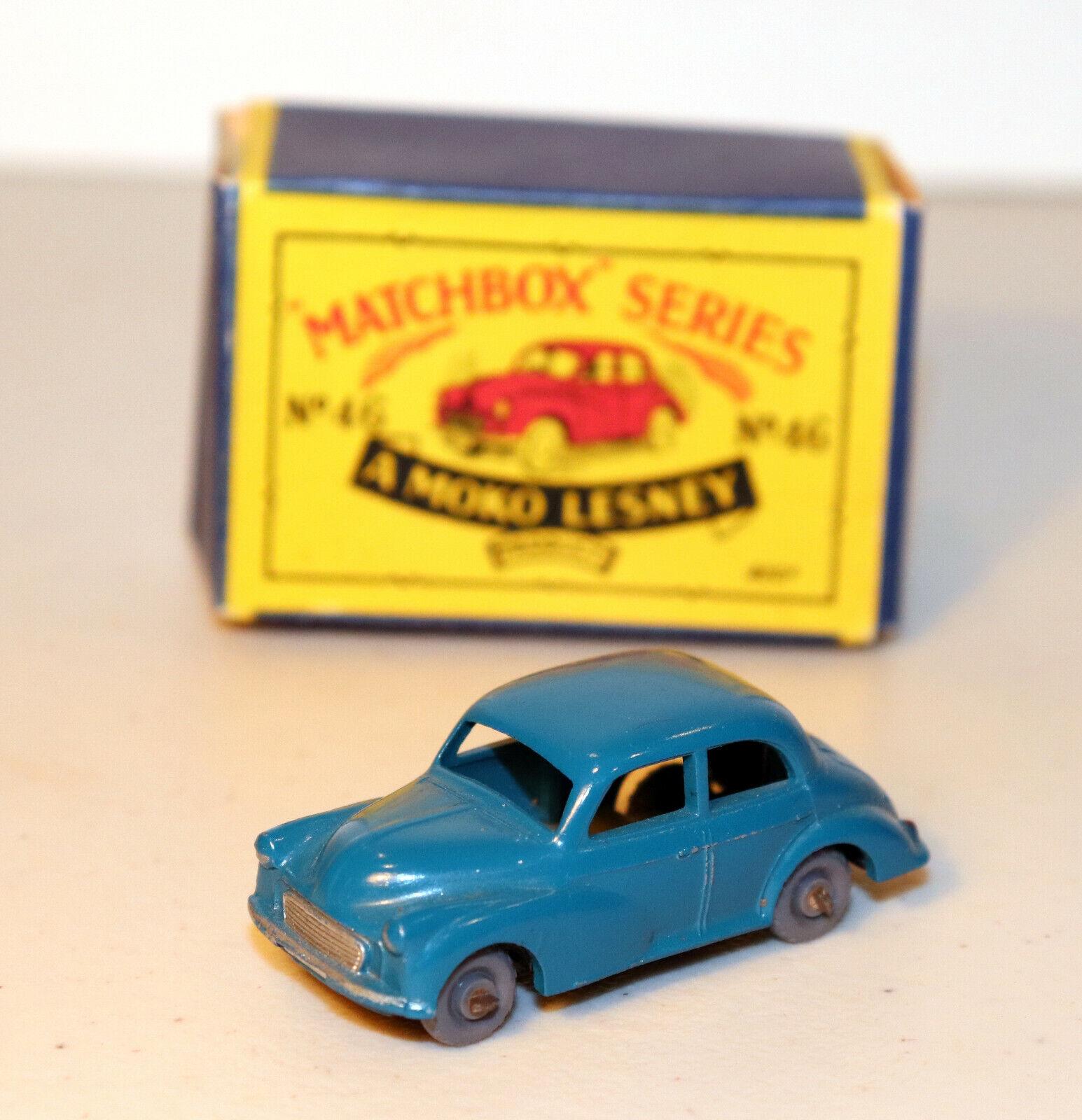 DTE LESNEY MATCHBOX REGULAR WHEELS 46-1 RARE Blau Grün MORRIS MINOR 1000 W GPW