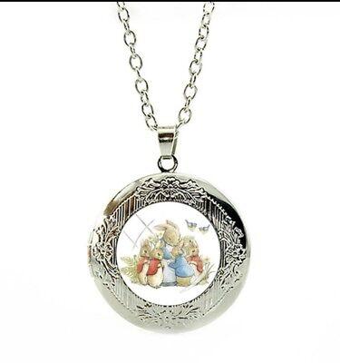 Peter Rabbit Medallón Collar//Medallón cumpleaños regalo de Navidad LC11