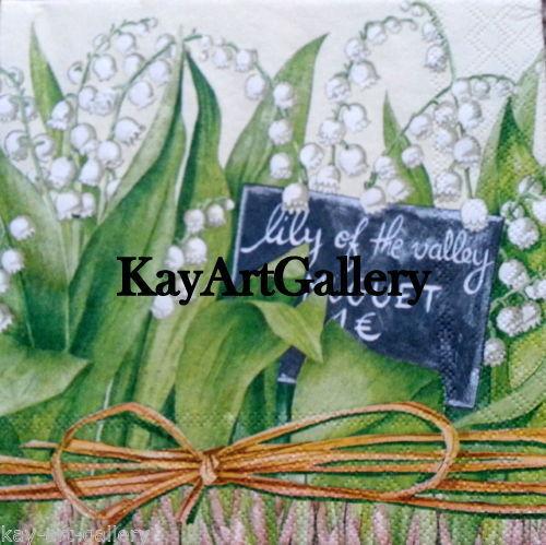 Craft Decoupage 4 X Solo Vintage Cuadro las servilletas de papel Lirio Del Valle