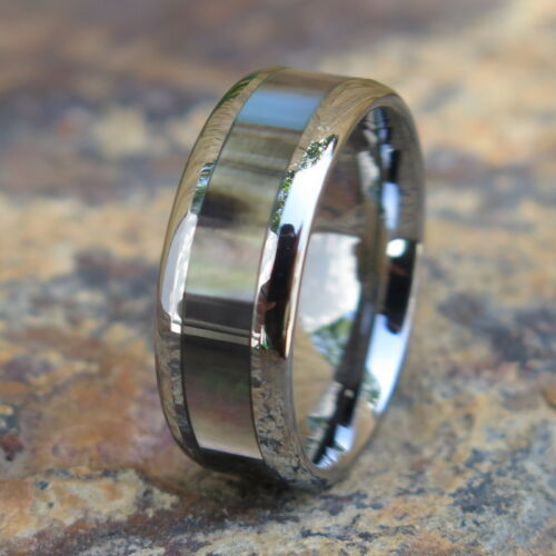 Hawaiian joyería Tungsteno Negro De Madre Perla incrustación de bodas anillo banda tur1006