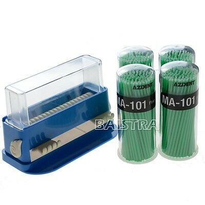 Dental Micro Applicator Dispenser Blue With 400 PCS Disposable Microbrush Green
