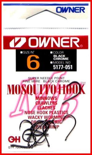 Owner Mosquito Size 6 Black Chrome Fish Hooks 1 pack 10 hooks #5177-051