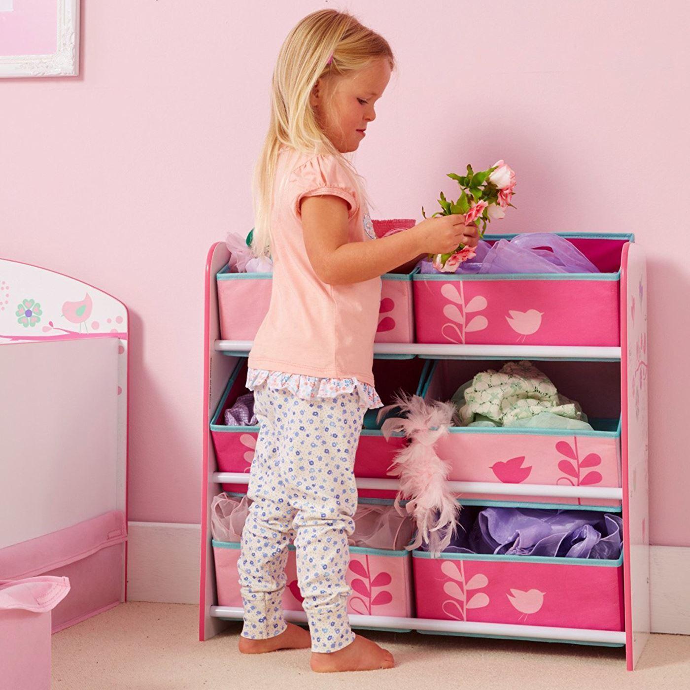FLEURS & OISEAUX Sling Bibliothèque & Toy Box & 6 Poubelle Meuble De Rangement Meubles