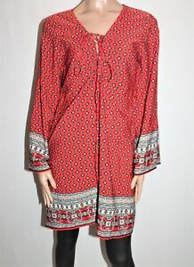 BOOHOO-Brand-Red-Printed-Long-Sleeve-Tunic-Top-Size-16-BNWT-TK14