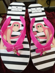 fd405d35da35 KATE SPADE WOMEN S NOVA STRIPE FLIP FLOP MONKEY NEW HOT PINK BLACK ...