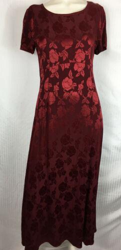 Vintage 90s Laura Ashley Burgundy Roses Brocade E… - image 1