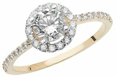 Liberal Halo Ring Engagement Ring Yellow Gold Ladies 9 Carat Gold Cluster Ring Size M-r