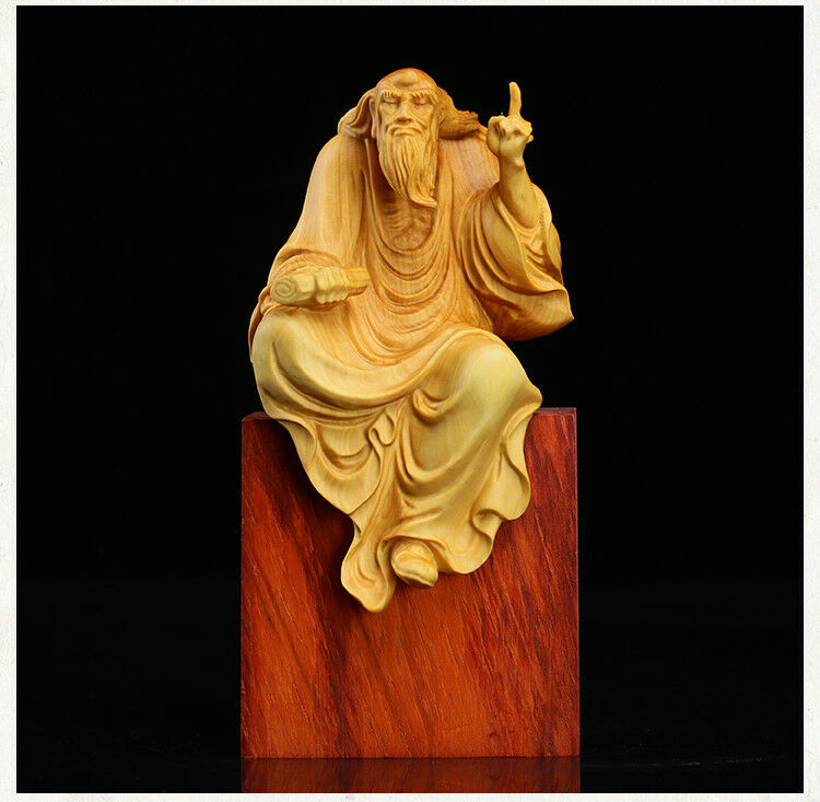 "4.5/"" Chinese Box-wood Hand-carved Great Taoist Founder Lao-tzu Laozi Statue 老子传道"