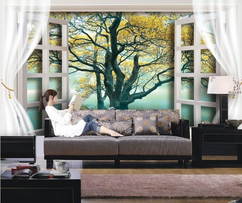 3D Swan Lake Tree 972 Wallpaper Mural Paper Wall Print Wallpaper Murals UK Lemon