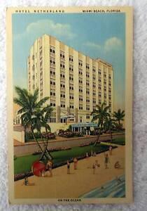 Image Is Loading Linen Postcard Hotel Netherland Miami Beach Florida Pq2dj