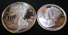 .999 Silver Design TWO Rounds: 1/4th Oz Eagle Liberty&1/10 Oz Mercury Dime