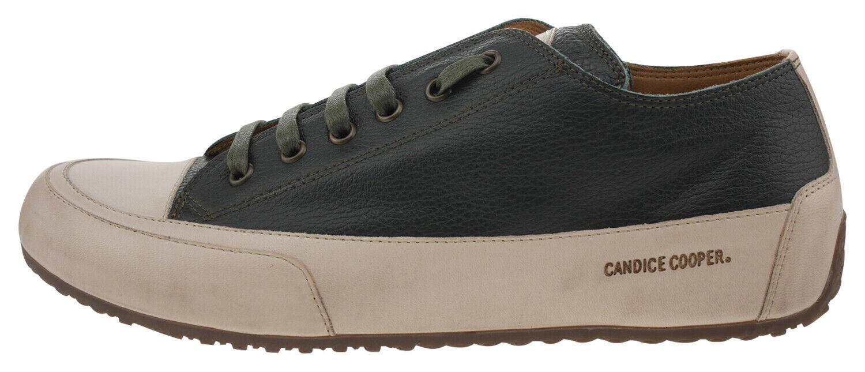 108199-400 Candice Cooper Rock21 Leder Sneaker beige dunkelgreen EUR 40