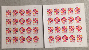"""2 Sheets Of United States """"Love"""" Forever Stamps 40 Stamps Total RV $21 d813"""