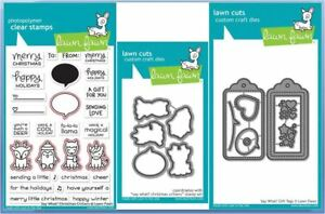 Lawn Fawn Stamp & Die Combo ~ SAY WHAT? CHRISTMAS CRITTERS + GIFT TAGS DIE -1780