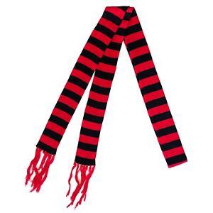 Gothic Psychobilly Punk 80s 90s Red Black Skinny Thin Striped Soft Knit Scarf