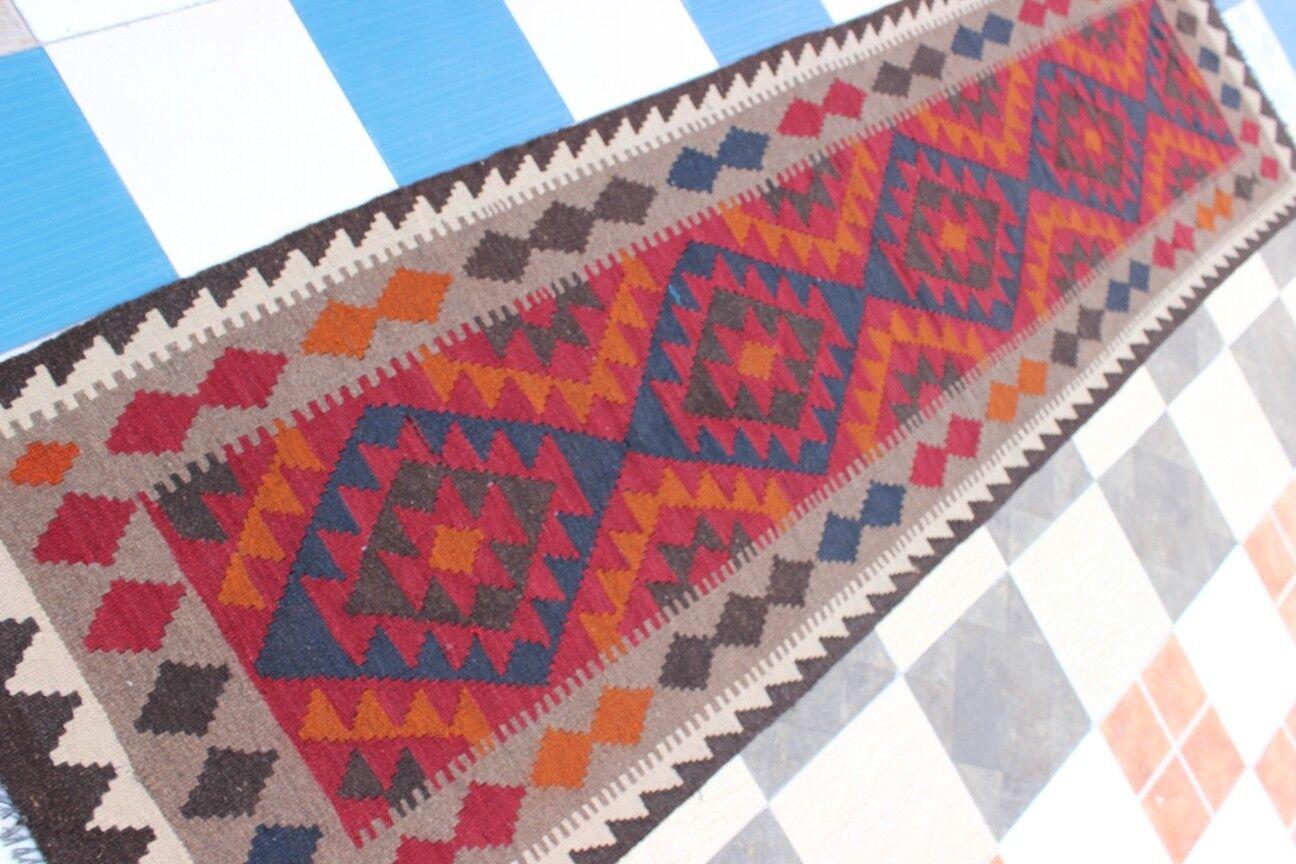 430144... Tribale Intrecciato A Mano Lana D'Agnello meymaneh Kilim...... dimensioni 289 x 83 FT.