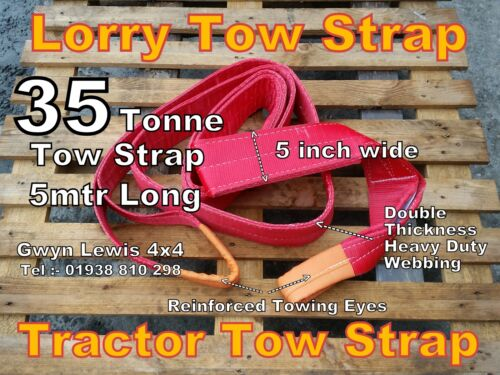 35 Tonne Lorry Tow Strap Rope 5mtr Heavy Duty Recovery Tractor Tow Chain Sling