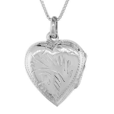 "Sterling Silver Hand Engraved Heart Locket Pendant Charm,18/"" Italian Box Chain"