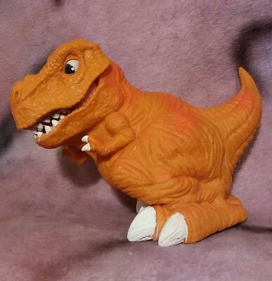 """5.5"""" Tall Orderly Orange Dinosaur Figure Toy Articulated Jaw Unbranded"""