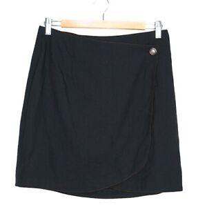 Vintage Jacqueline Dimicco Womens Black Mini Wrap Skirt Size 12 Made in AUS